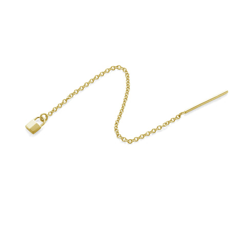 14K YELLOW GOLD TINY PADLOCK CHAIN EARRING