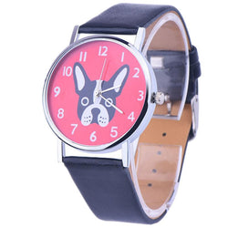 GENVIVIA Fashion Leather Band Watches Cute Dog