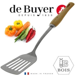 SLOTTED SPATULA ST.STEEL WOODEN BBOIS HANDLE \2701.06-C3223