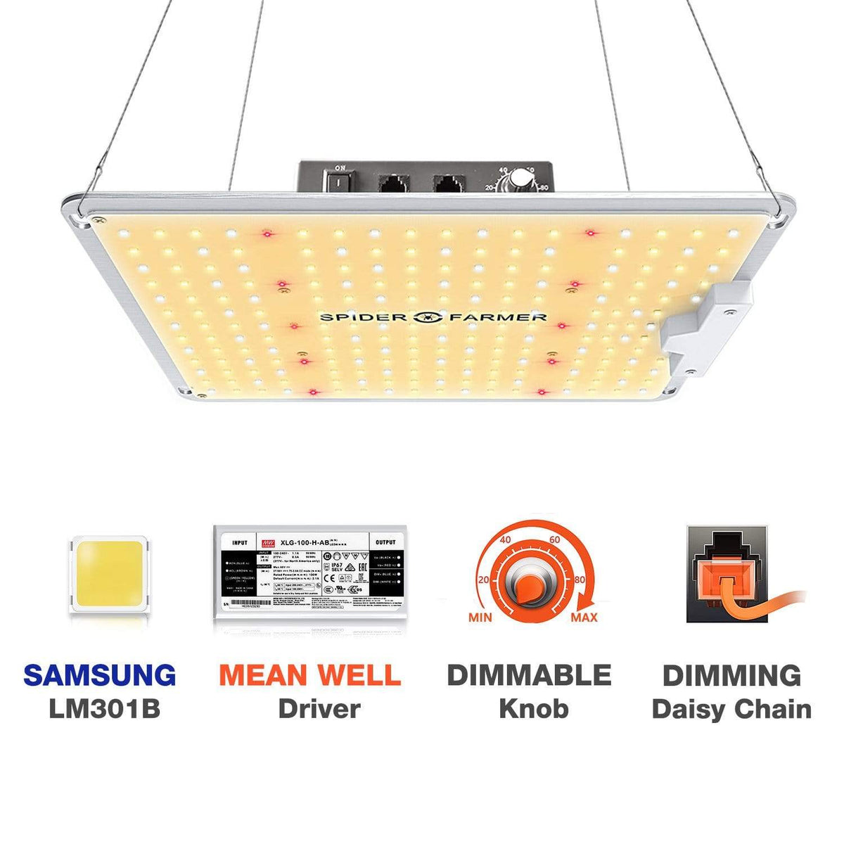 Spider Farmer Spider Farmer SF1000 LED Full Spectrum Grow Light with Dimmable Knob