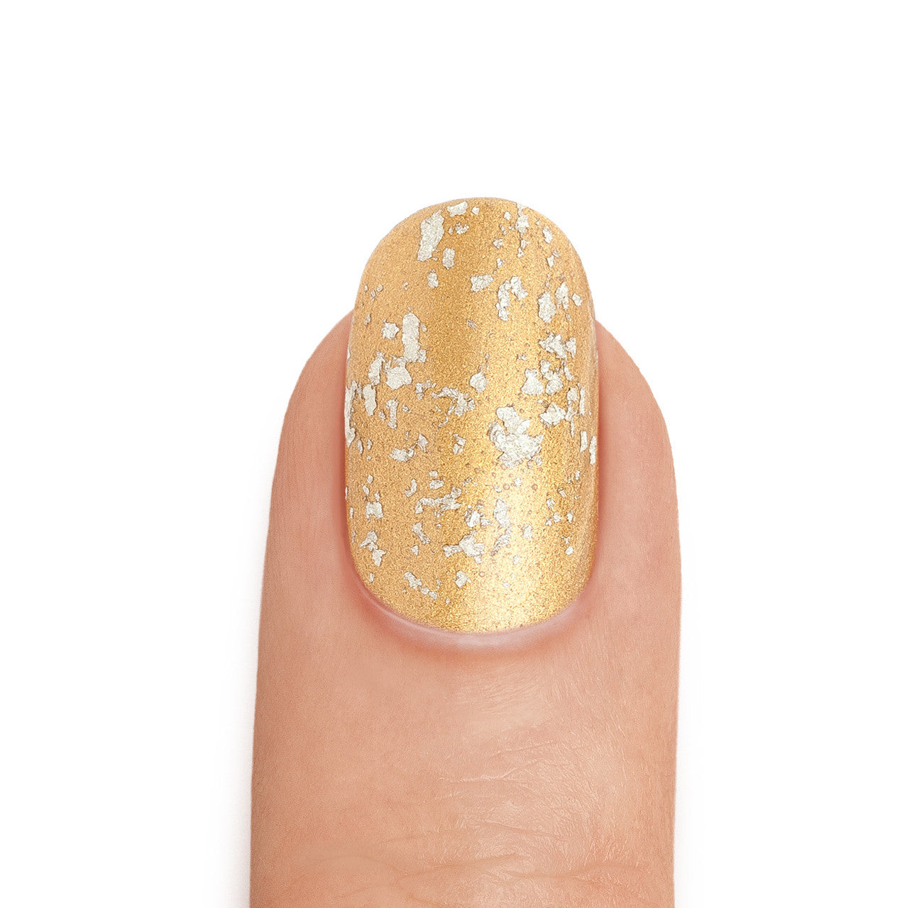Real 24K Gold Nail Polish with White Gold Leaf Top Coat - MINE Luxury Nail Lacquer