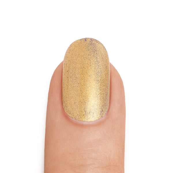 Real 24K Gold Nail Polish over Royal Blue Base- MINE Luxury Nail Lacquer