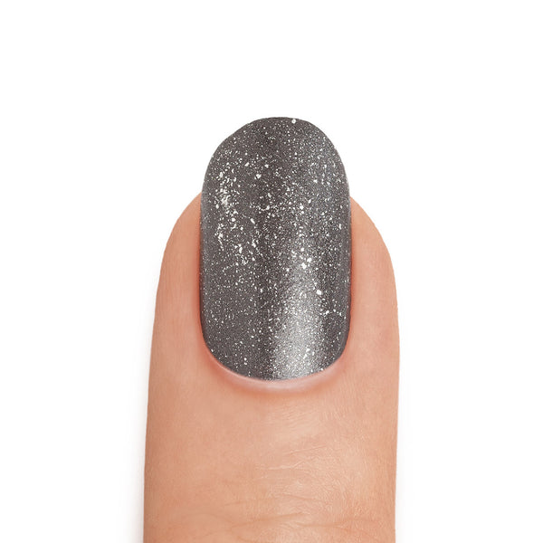 Silver Shimmer Top Coat Graphite Nail Polish - MINE Luxury Nail Lacquer