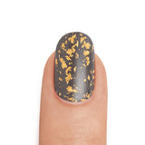 24 Karat Gold Leaf Top Coat over Graphite - MINE Luxury Nail Lacquer