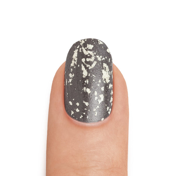 Real White Gold Leaf Top Coat over Graphite Nail Polish - MINE Luxury Nail Lacquer