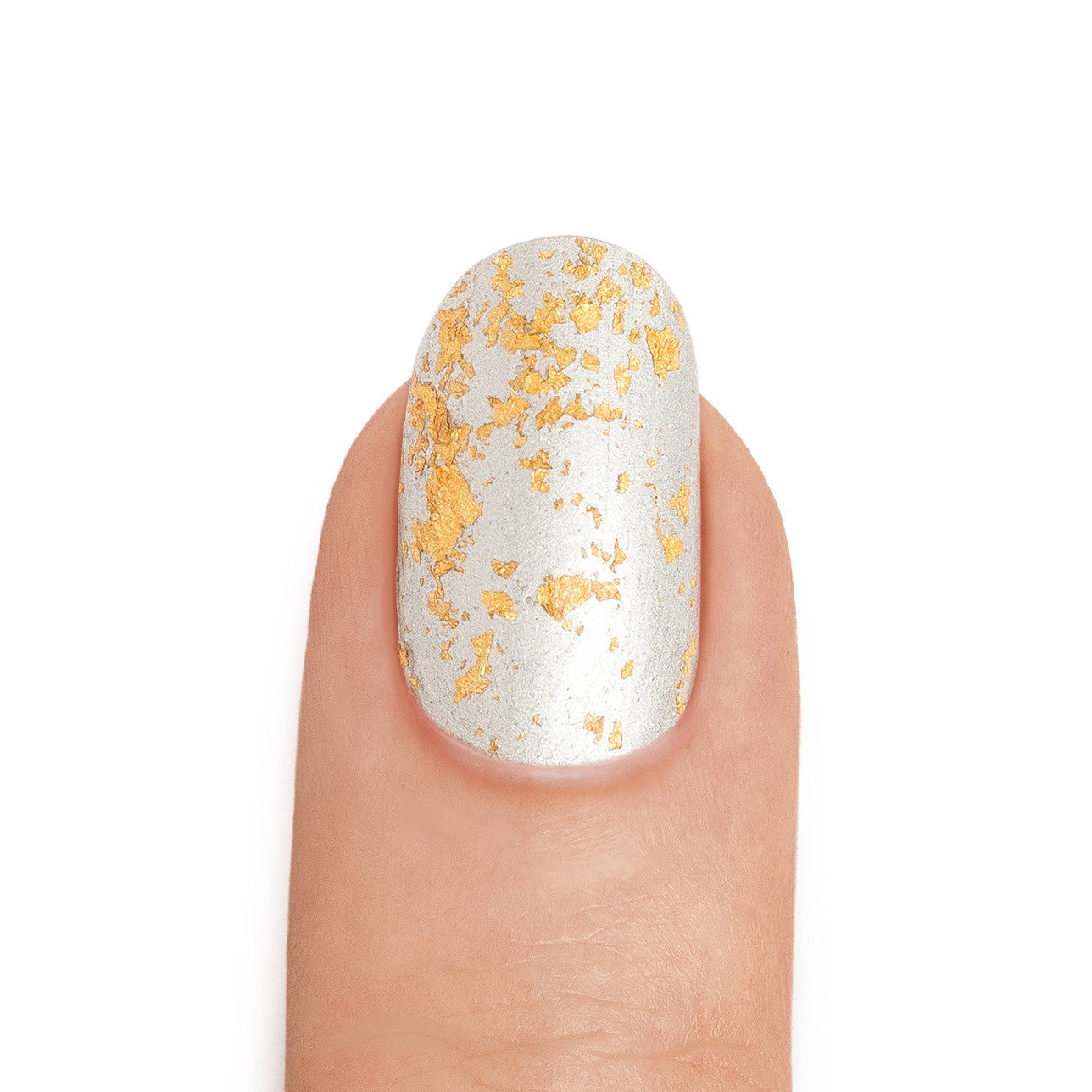 Real Silver Nail Polish with 24K Gold Leaf Top Coat - MINE Luxury Nail Lacquer