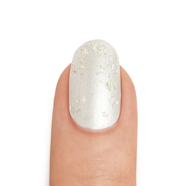 Real Silver Nail Polish with White Gold Leaf Top Coat - MINE Luxury Nail Lacquer
