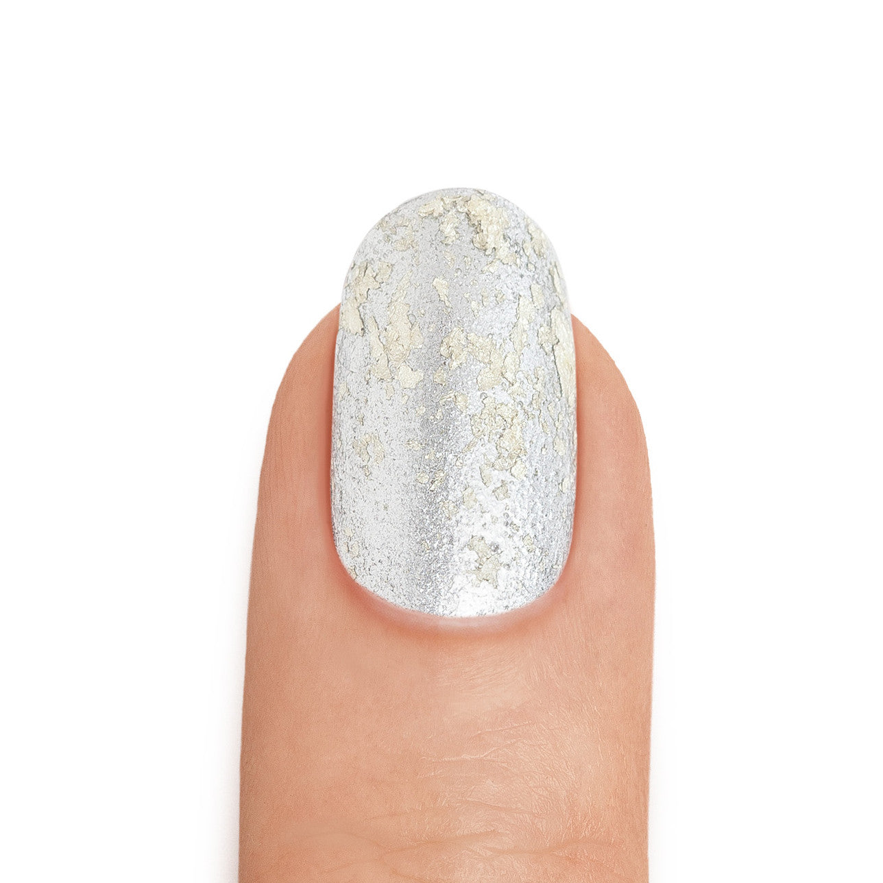 Real White Gold Leaf Top Coat over Aluminum Nail Polish - MINE Luxury Nail Lacquer