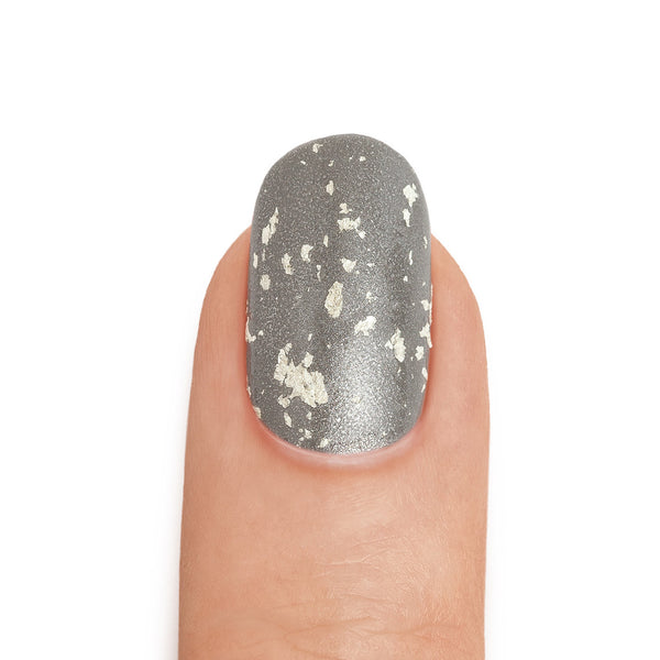 Real White Gold Leaf Top Coat over Pewter Nail Polish - MINE Luxury Nail Lacquer