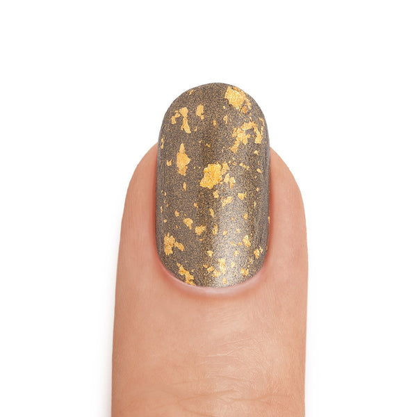 Real Gold & Graphite Nail Polish with Gold leaf Top Coat - MINE Luxury Nail Lacquer