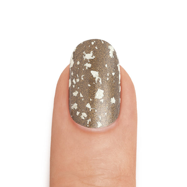 Real Gold & Graphite Nail Polish with White Gold Top Coat- MINE Luxury Nail Lacquer