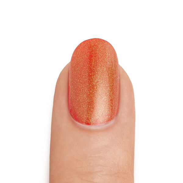 Real Gold Top Coat over Crimson Base Coat - MINE Luxury Nail Lacquer