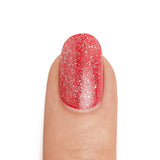 Silver Shimmer Top Coat over Crimson Base Coat - MINE Luxury Nail Lacquer