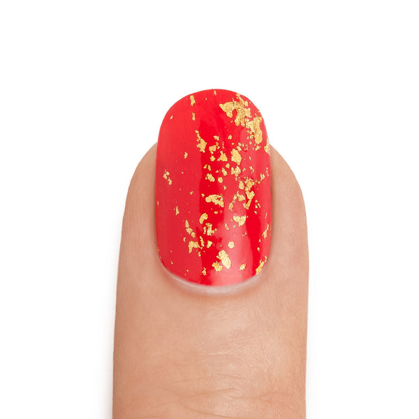Real 24K Gold Leaf Top Coat over Crimson Base Coat- MINE Luxury Nail Polish