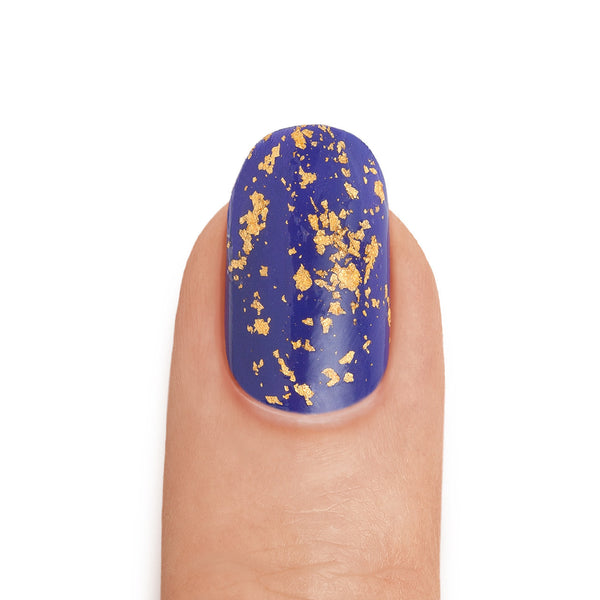 Real 24K Gold Leaf Top Coat with Royal Blue Base Coat - MINE Luxury Nail Polish