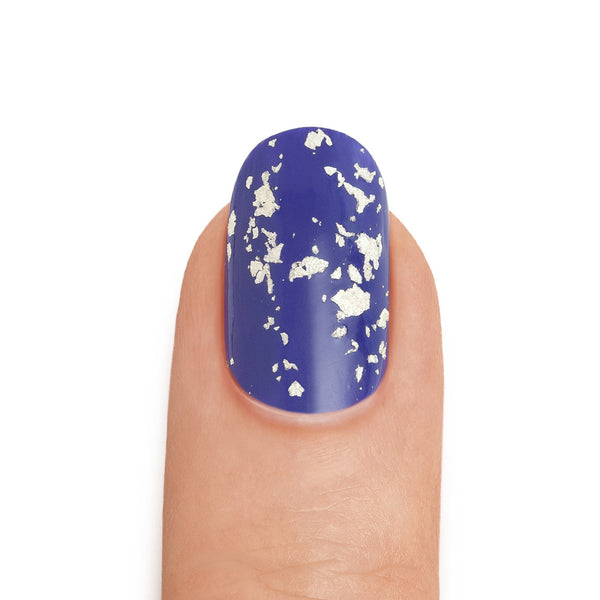 Real White Gold Leaf Top Coat over Royal Blue - MINE Luxury Nail Lacquer