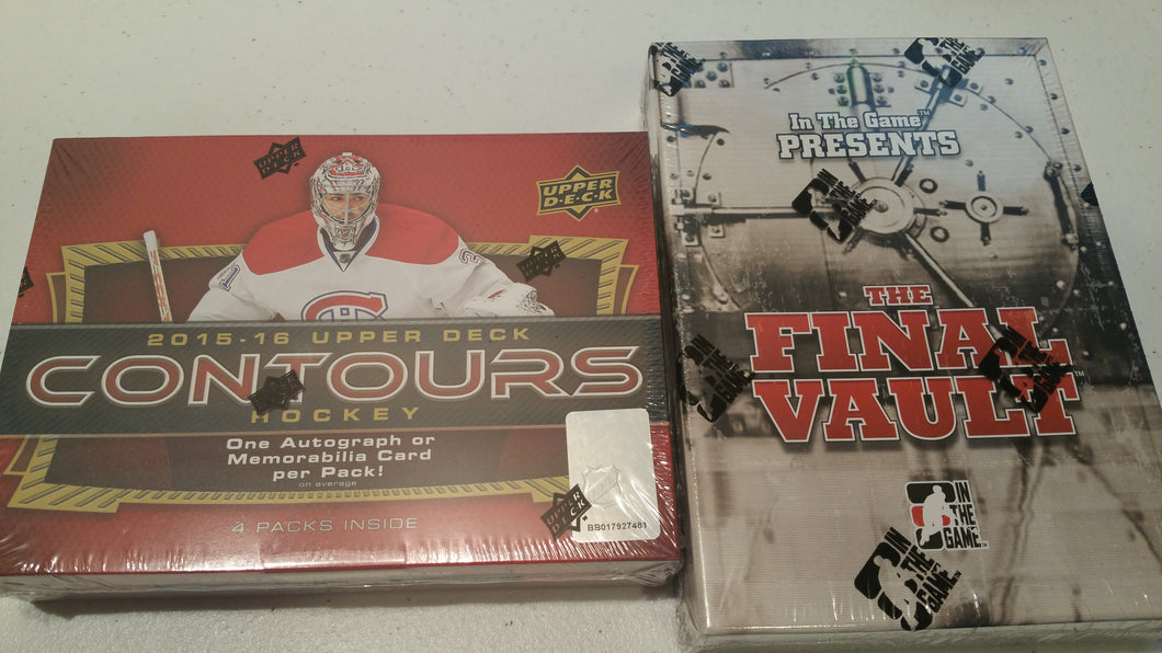 BAR DOWN MIXER #1: 2 Box Random Teams: 2015/16 UD Contours and 2015/16 ITG Final Vault Hockey