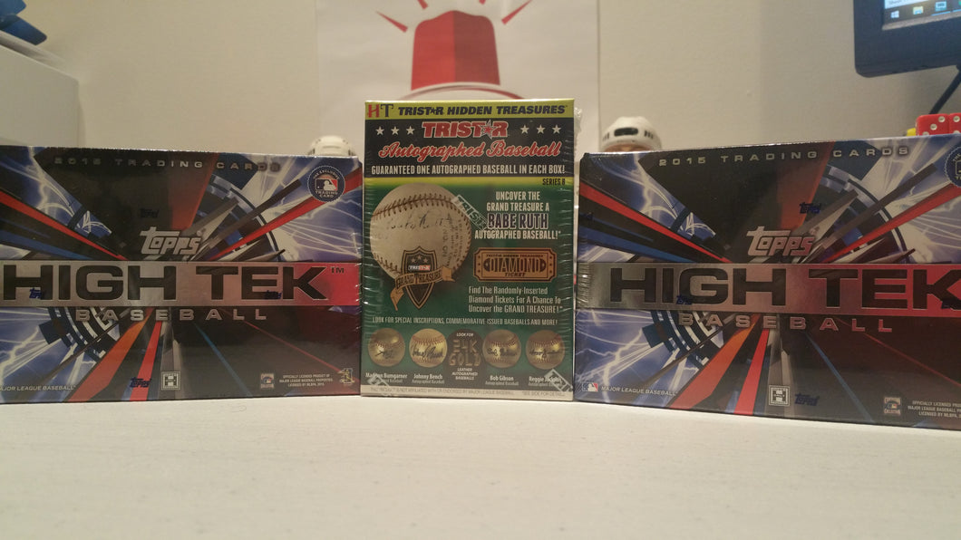 BAR DOWN MIXER #2: 3 Box Random Teams: 2015 High Tek (2) and Tristar Autographed Baseball