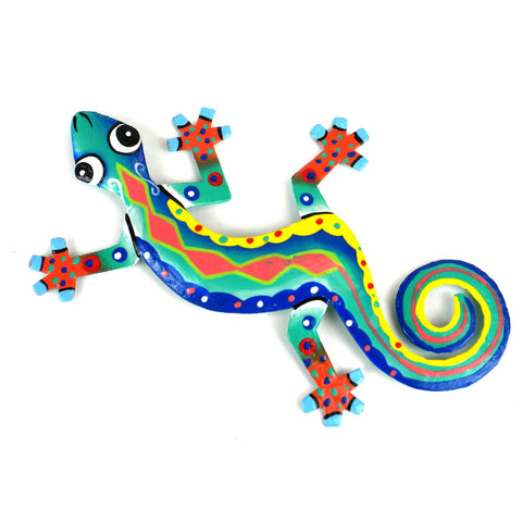 Eight Inch Red Spine Metal Gecko - Caribbean Craft
