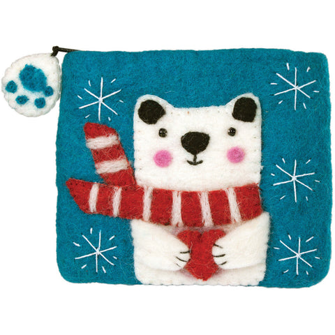Felt Coin Purse - Polar Bear - Wild Woolies (P)