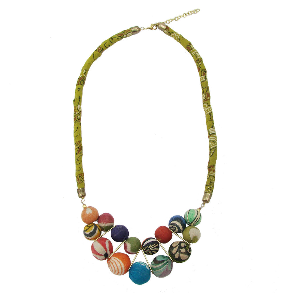 Kantha Beaded Bib Necklace - WorldFinds