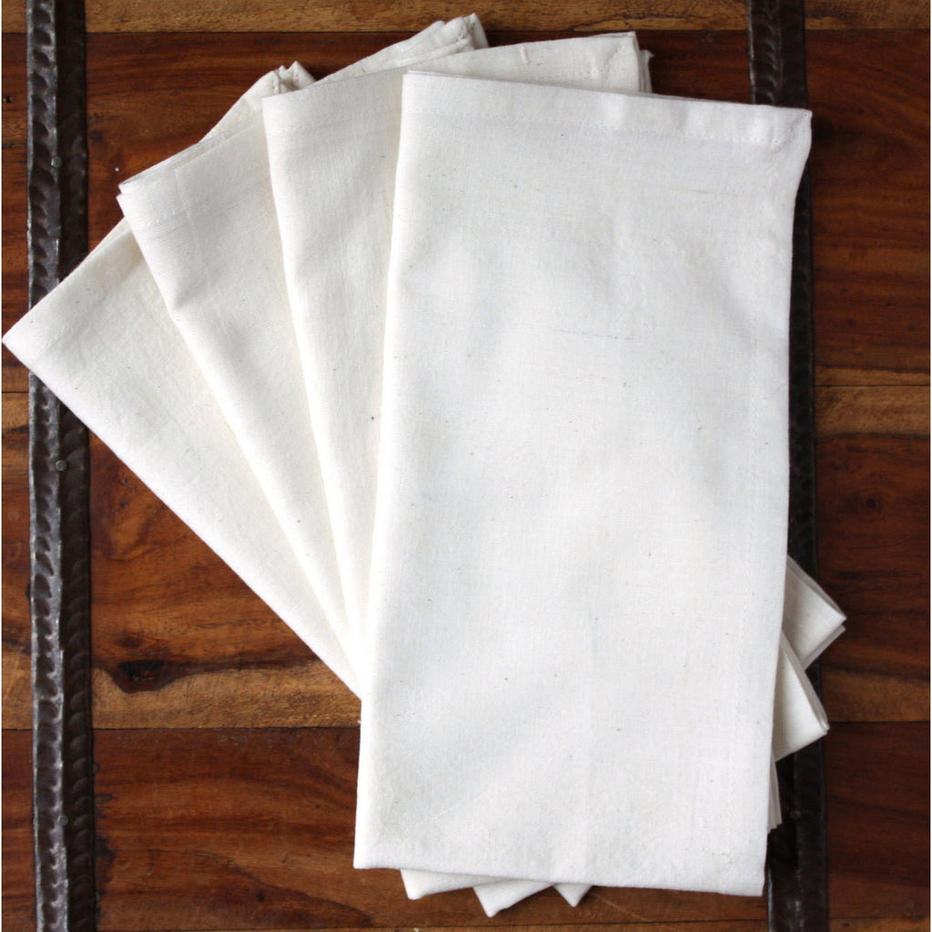 Cream 20-inch Cotton Napkin Set of 4 - Sustainable Threads (L)