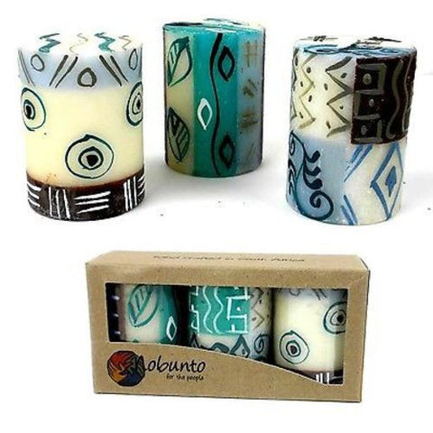 Set of Three Boxed Hand-Painted Candles - Maji Design - Nobunto