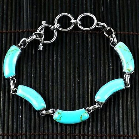Handcrafted Mexican Alpaca Silver and Turquoise Curve Bracelet - Artisana