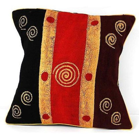 Handmade Geometric Spirals Batik Cushion Cover - Tonga Textiles