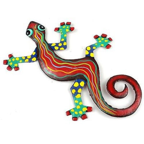 Eight Inch Red Wave Metal Gecko - Caribbean Craft