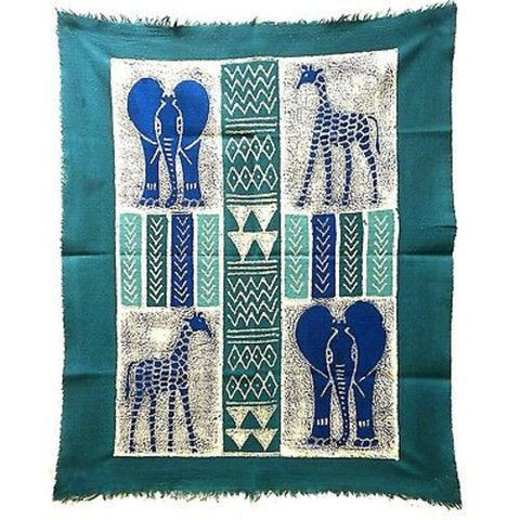 African Quad Batik in Three Blues - Tonga Textiles