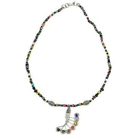 Single Strand Beaded 'Peacock Feather' Multicolor Necklace - Zakali Creations