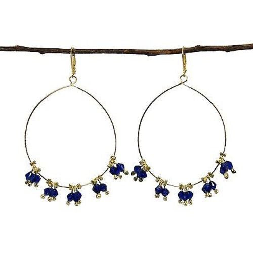 Delicate Droplet Earrings in Cobalt - WorldFinds