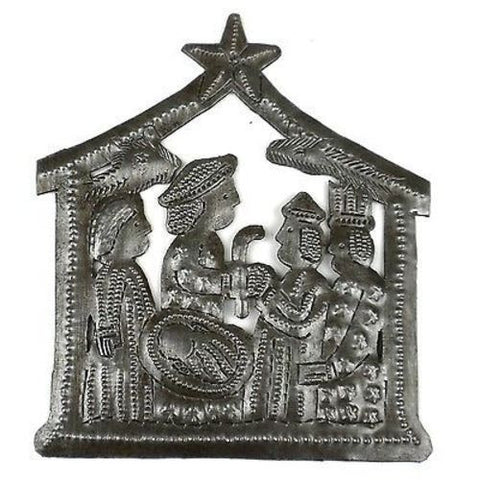 Small Recycled Steel Drum Nativity Scene - Croix des Bouquets (H)