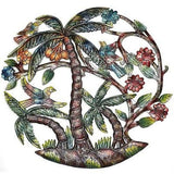 Colorful Palm Trees Hand Painted Metal Wall Art - Croix des Bouquets