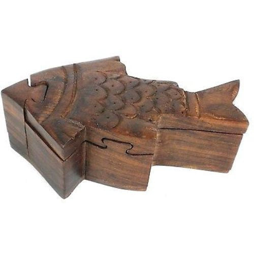 Handcrafted Sheesham Wood Fish Puzzle Box - Noahs Ark