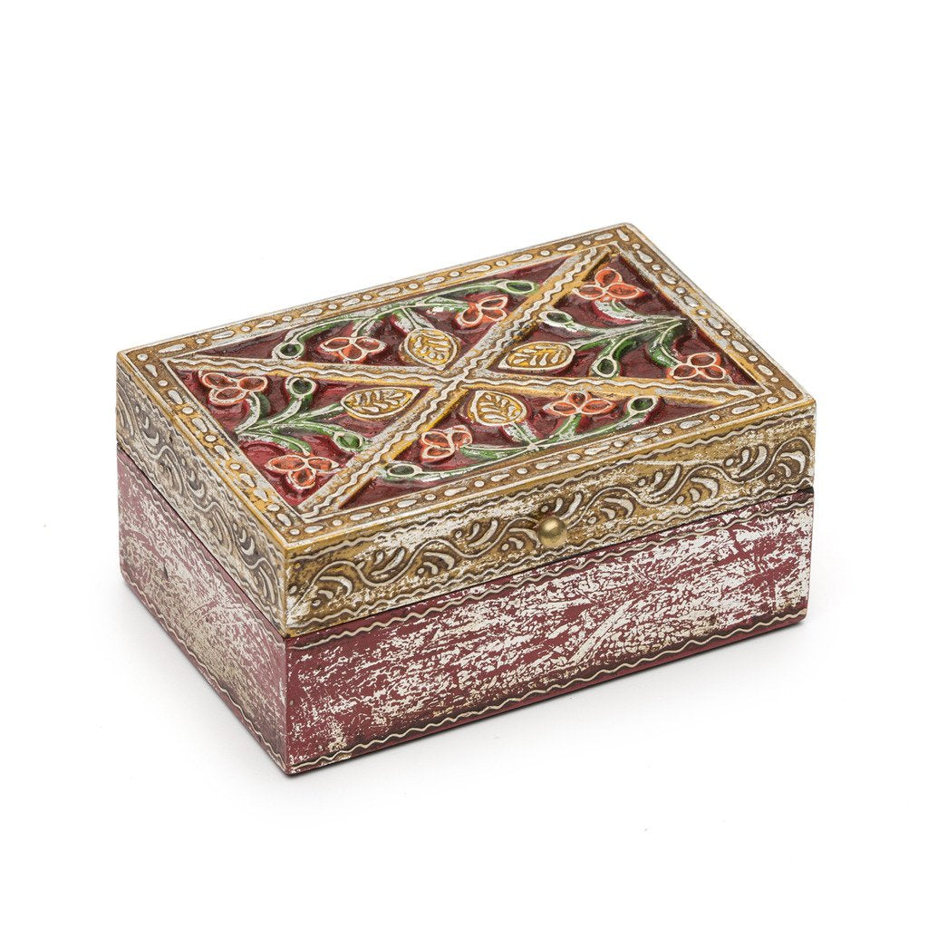 Antiqued Metal and Wood Red Bloom Box - 6 by 4 inch - Matr Boomie (B)