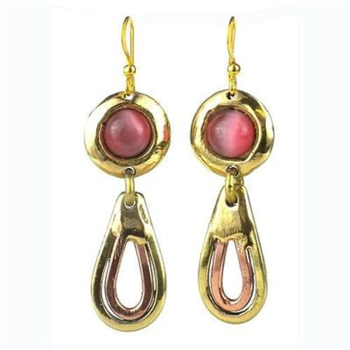 First Blush Pink Tiger Eye Brass Earrings - Brass Images (E)