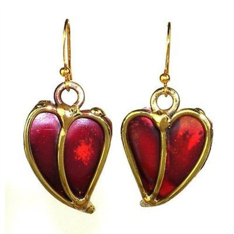 Heart Copper and Brass Earrings - Brass Images (E)