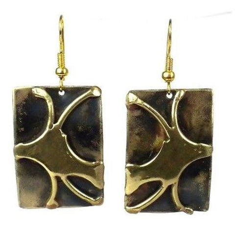 Handcrafted Burst of Energy Earrings - Brass Images (E)