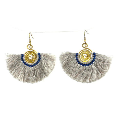 Flamenco Fringe Earrings - Silver - Global Groove (J)