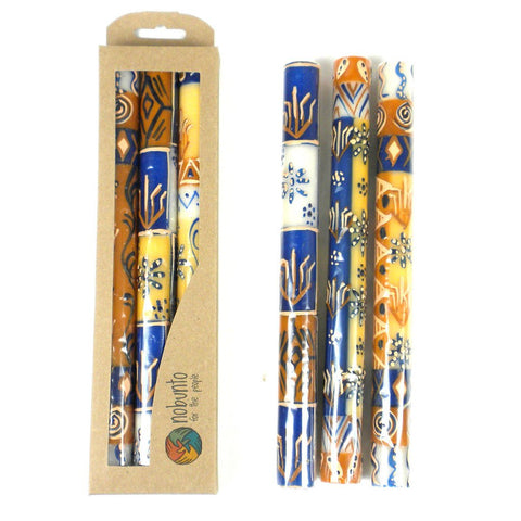 Tall Hand Painted Candles - Three in Box - Durra Design - Nobunto