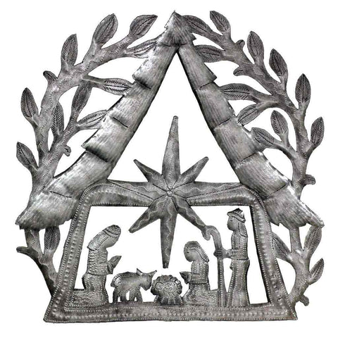 "Nativity Scene with Branches Metal Wall Art (11"" x 11"") - Croix des Bouquets (H)"