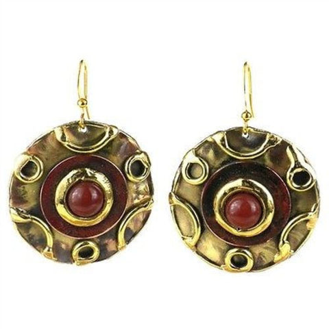 Carnelian Disk Brass Earrings - Brass Images (E)