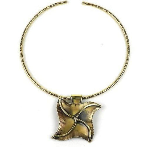 Brass Pinwheel Pendant Necklace - Brass Images (N)
