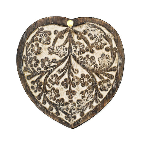 Antique Finish Wood Pivot Box - Heart - Matr Boomie (B)