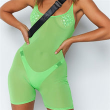 Hugcitar Spaghetti straps mesh see-through backless sexy playsuit 2019 summer women fashion neon green pink solid club body
