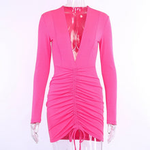 Pink Attire V-neck long sleeve dress