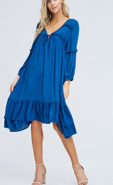Loose Casual Teal Blue Dress - BRIDGET CUNNINGHAM