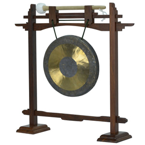 "The Gong Shop Small Chinese Gongs with Stand Combos 4"" to 13"" 07"" Chau Gong with Rosewood Pedestal Gong Stand and Mallet Combo"